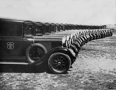 In A Row Photograph - A Row Of Graham Automobiles by Underwood Archives