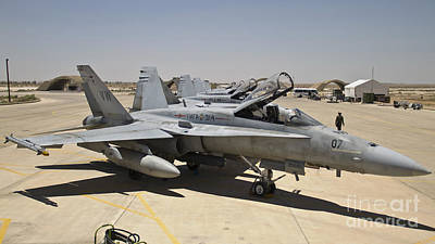 A Row Of U.s. Marine Corps F-18 Hornets Print by Stocktrek Images