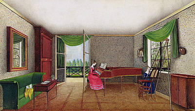 Woman Playing Piano Painting - A Russian Interior by Micheline Blenarska