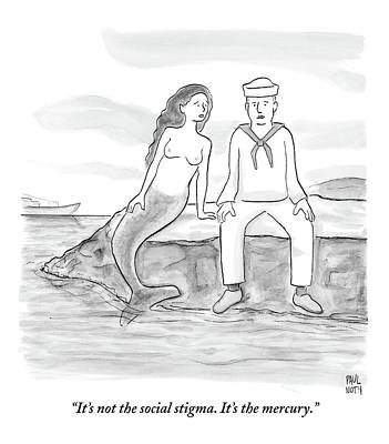 Mermaid Drawing - A Sailor Breaks Up With His Naked Mermaid by Paul Noth