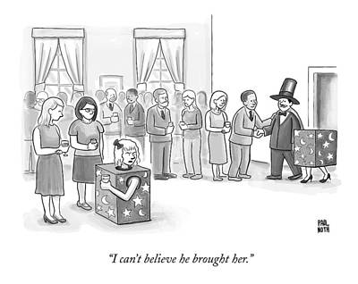 Magician Drawing - A Sawed-in-half Magician's Assistant Scowls by Paul Noth