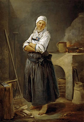 Hutin Painting - A Saxon Villager In Her Kitchen by Charles-Francois Hutin