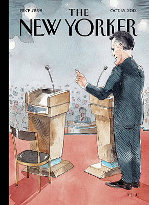Romney Painting - A Scene From The Presidential Debate by Barry Blitt