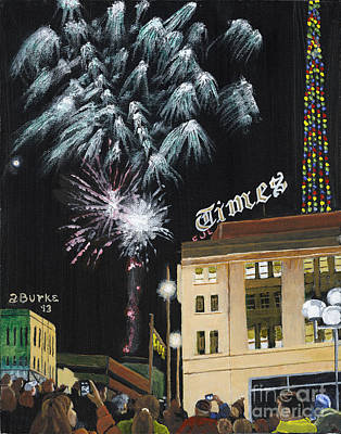 Fireworks Painting - A Scranton Times Christmas by Austin Burke