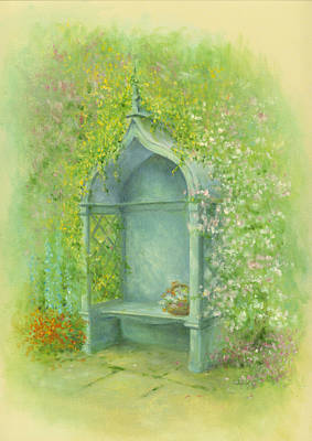 A Seat In The Garden Print by Garry Walton