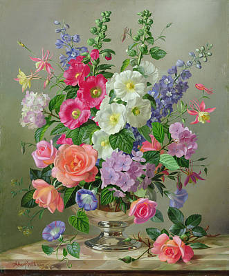 A September Floral Arrangement Print by Albert Williams