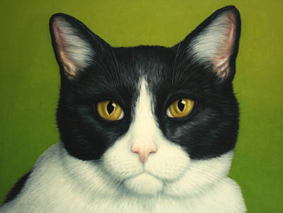 Black And White Painting - A Serious Cat by James W Johnson
