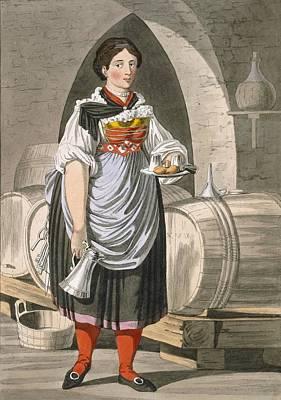 Wine Drawing - A Serving Girl At An Inn by Josef Anton Kapeller