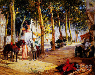 Arab Painting - A Shady Street  by Celestial Images