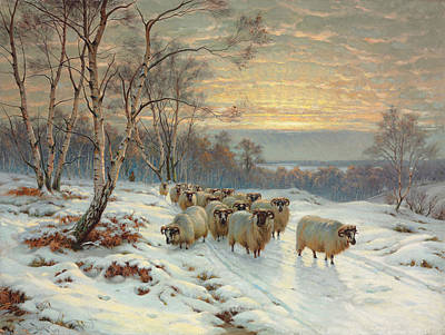 A Shepherd With His Flock In A Winter Landscape Print by Wright Barker