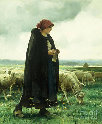 Farm Fields Painting - A Shepherdess With Her Flock by Julien Dupre