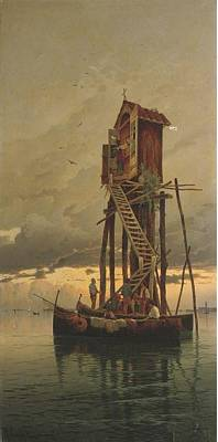 Shrine Painting - A Shrine On A Venetian Lagoon by Hermann David Salomon Corrodi