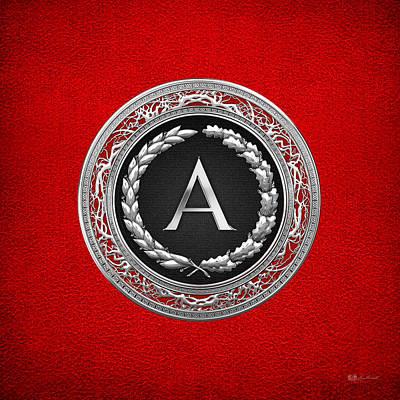 Regalo Digital Art - A - Silver Vintage Monogram On Red Leather by Serge Averbukh