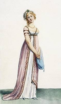 Fashion Drawing - A Simply Designed Ladys Ball Dress by Pierre de La Mesangere