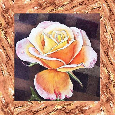 A Single Rose Dew Drops On Ruffles  Print by Irina Sztukowski