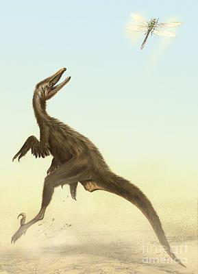 Microraptor Digital Art - A Small Predatory Sinornithosaurus by Jan Sovak