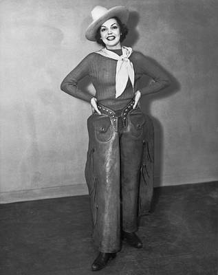 A Smiling Cowgirl Print by Underwood Archives