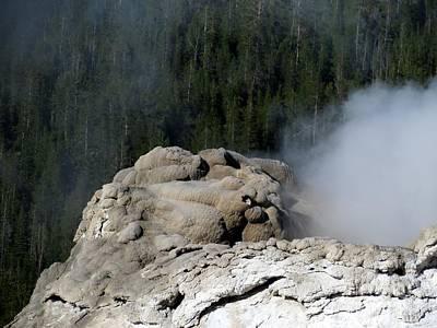 A Smoking Man. Yellowstone Hot Springs Print by Ausra Huntington nee Paulauskaite
