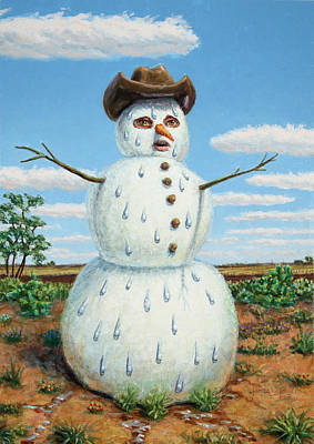 A Snowman In Texas Print by James W Johnson