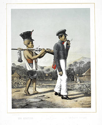 A Soldier And His Servant Print by British Library