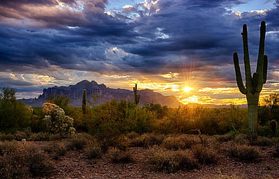 Skyscapes Photograph - A Sonoran Desert Sunrise by Saija  Lehtonen