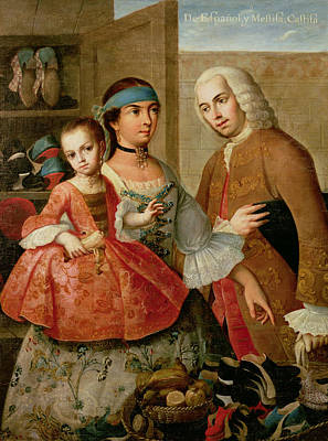 A Spaniard And His Mexican Indian Wife And Their Child, From A Series On Mixed Race Marriages Print by Miguel Cabrera