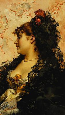 Balck Art Painting - A Spanish Beauty by Frederik Hendrik Kaemmerer