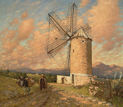 Bucolic Scenes Painting - A Spanish Mill by Henry Herbert La Thangue