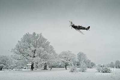 Snowy Digital Art - A Spitfire Winter  by J Biggadike