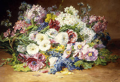 A Splendid Bouquet Of Assorted Flowers Print by Marie Therese Lemaire