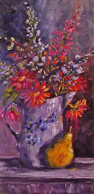 Holly Hocks Painting - A Spray Of Color by Angela Sullivan