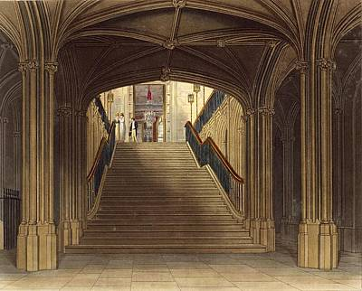 A Staircase, Windsor Castle, From Royal Print by Charles Wild