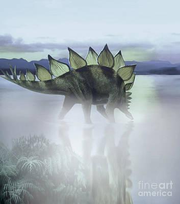 Paleozoology Digital Art - A Stegosaurus Dinosaur Grazing by Jan Sovak