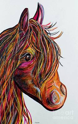 Funky Painting - A Stick Horse Named Amber by Eloise Schneider