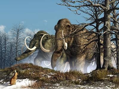 Paleoart Digital Art - A Storm Of Mammoths  by Daniel Eskridge