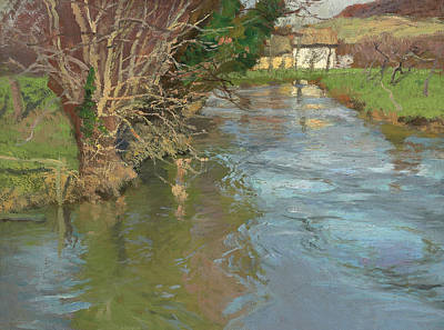 Reflections In River Painting - A Stream In Spring by Fritz Thaulow