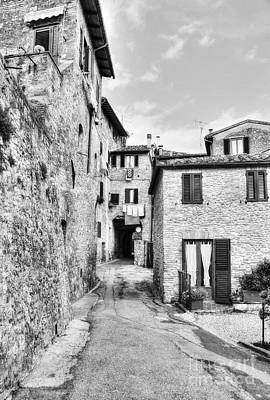Stone Buildings Photograph - A Street In Tuscany Bw by Mel Steinhauer