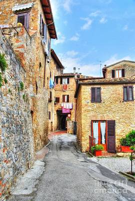 Stone Buildings Photograph - A Street In Tuscany by Mel Steinhauer