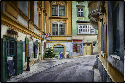 Window Signs Photograph - A Street In Vienna by Joan Carroll