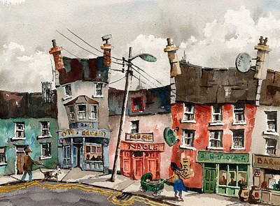 A Street Of Pubs Print by Val Byrne