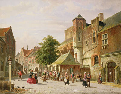 Daily Life Photograph - A Street Scene In Amsterdam by Adrianus Eversen