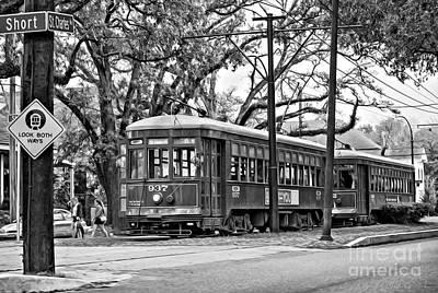 Street Photograph - A Streetcar Named St. Charles Oil Bw by Steve Harrington