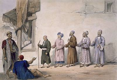 Street Drawing - A String Of Blind Beggars, Cabul, 1843 by James Atkinson