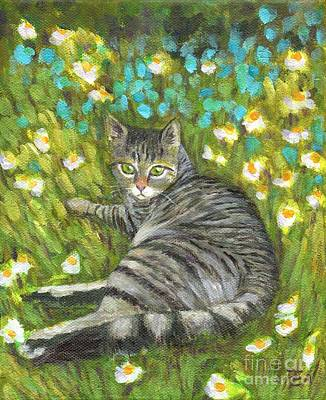 Cat Painting - A Striped Cat On Floral Carpet by Jingfen Hwu