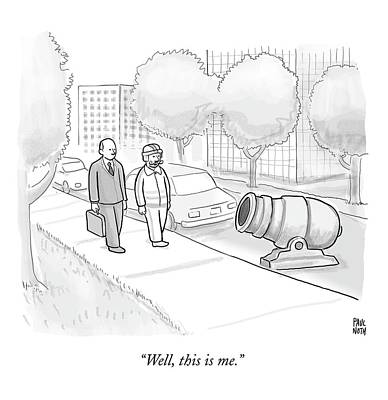A Stuntman With A Curly Mustache Walks Next Print by Paul Noth