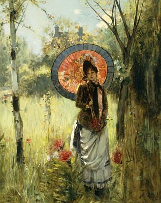 Golden Sunlight Painting - A Summer Stroll by Albert Lynch