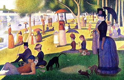 Dog In Lake Painting - A Sunday Afternoon On The Island Of La Grande Jatte by Seurat Georges
