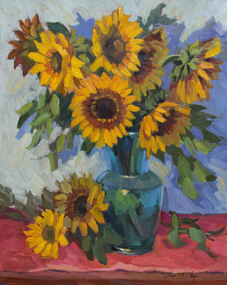 Sunflowers Still Life Painting - A Sunflower Day by Diane McClary