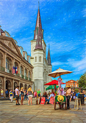 Hot Dog Digital Art - A Sunny Afternoon In Jackson Square 2 by Steve Harrington