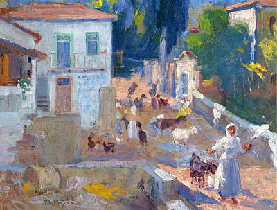Georgio Painting - A Sunny Village Road by Georgios Roilos